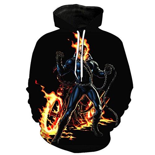 Design Männer Kapuzenjacke Hoodies Langarm Oberbekleidung 3D Drucken Feuer Schädel Pullover Punk Männer 3D-Hoodies Plus Size Photo Color 1 4 XL (Size Camo Hoodie Plus)