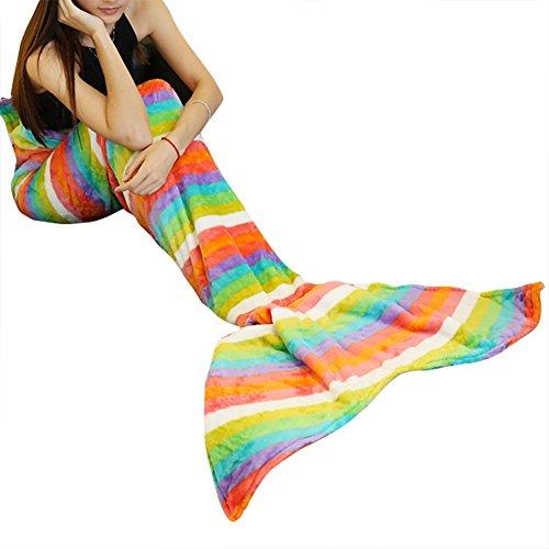 iiniim Meerjungfrau Schwanz Decke Fleecedecke Kuscheldecke Bettdecke Wolldecke für Erwachsene (Mehrfarbig) Regenbogen Streifen Einheitsgröße