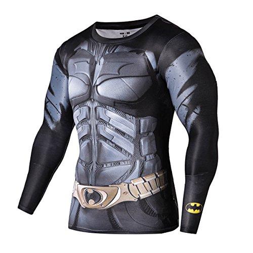 Image of FRINGOO® Mens Compression Superhero Top Base Layer Gym Long Sleeve Running Thermal Sweatshirt Workout T-shirt Spider Superman Bat (Medium, Batman)