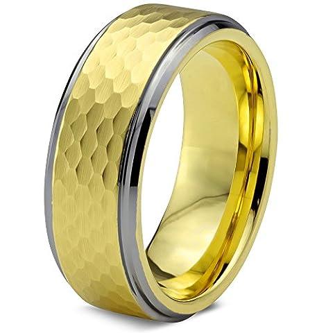 Tungsten Wedding Band Ring 8mm for Men Women Comfort Fit 18k Yellow Gold Hammerd Brushed Lifetime Guarantee Size 61 (19.4)