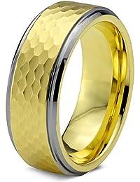 Tungsten Wedding Band Ring 8mm for Men Women Comfort Fit 18k Yellow Gold Hammerd Brushed Lifetime Guarantee