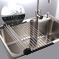 Egouttoir grille séchage à vaisselle en inox pliable au dessus d'évier pour légumes et fruits (Grand)