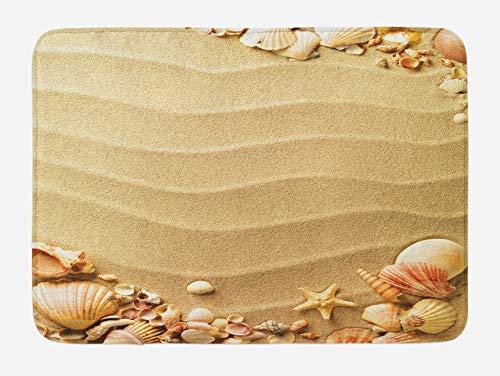Bath Rug Beach Bath Mat, Nautical Composition with Sandy Beach Frame Surrounded by Various Sea Shells, Plush Bathroom Decor Mat, 16x 24 Inches, Sand Brown Coral