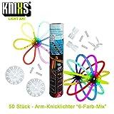 KNIXS 50x Knicklichter für Armbänder im 6 Farb-Mix leuchtend, inkl. 50x 2D-Verbinder und je 2x Creolen-, Ball- und 7-Lochverbinder für Party, Geburtstag, Festival oder Hochzeit - Markenqualität