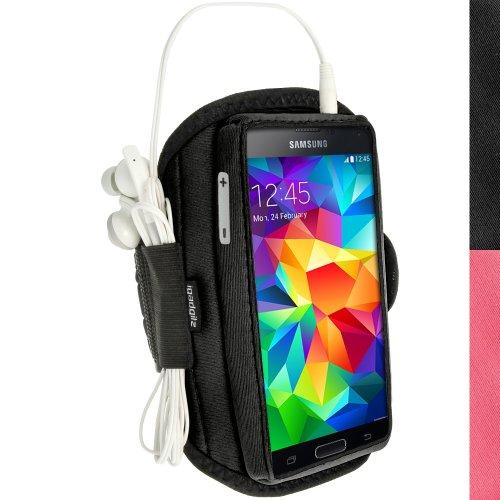 igadgitz Wasserabweisend Schwarz Sports Jogging Armband Laufen Fitness Oberarmtasche für Samsung Galaxy S5 SV SM-G900