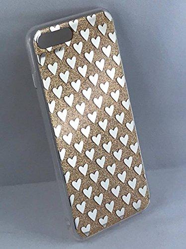 Bling Cuori Glitter Cover Case per iPhone 7 Pus (5.5), Ultra Slim Trasparente Glitter Strass Custodia Protettiva, Fashion (oro) oro