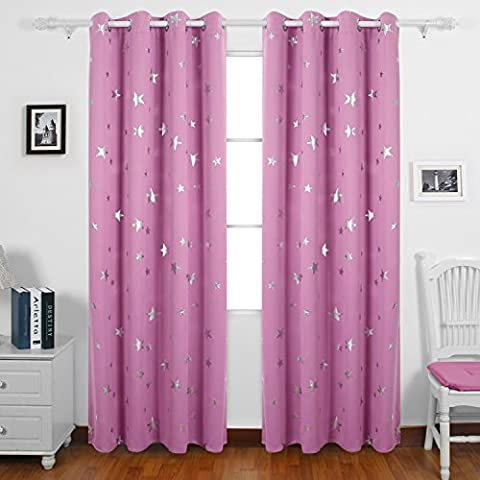 Deconovo Stars Foil Printed Thermal Insulated Ready Made Curtains Eyelet