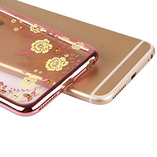 iPhone 6/6S/6plus/6S Plus Coque en TPU souple à paillettes Film protecteur d'écran Motif floral, papillon strass en cristal transparent plaqué or en caoutchouc Pare-chocs coque