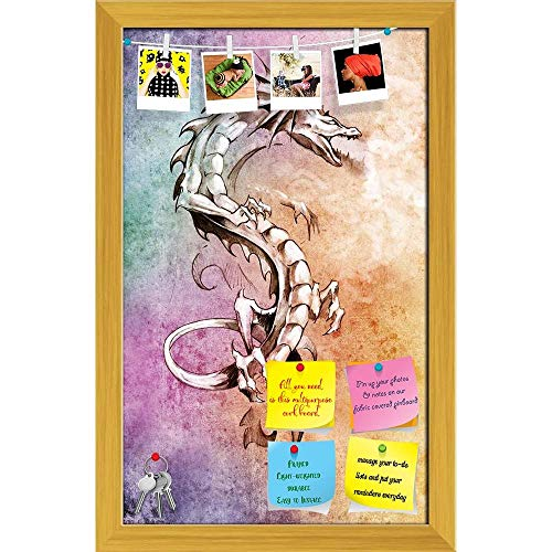 Artzfolio Tattoo Art Big Medieval Dragon Printed Bulletin Board Notice Pin Board | Golden Frame 12 X 18.9Inch