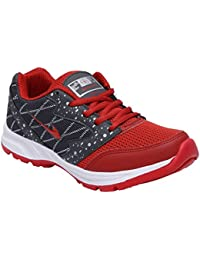 AeroFax Men's Running Gray Red Lace Up Sport Shoes