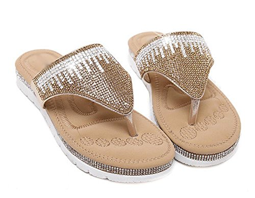 sandales été diamant orteil clip chaussures plates Gold