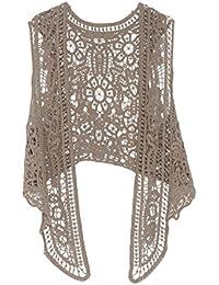 Mujer Blusas Encaje Tejer De Frente Abierto Huecos Irregular Elegantes  Clásico Especial Vintage Hippie Boho Moda 83ae5f953493