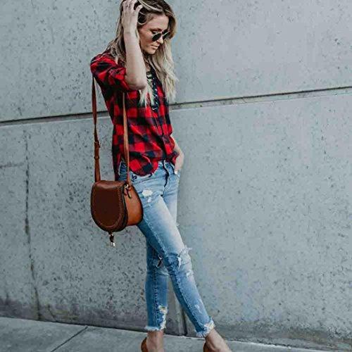 Kolylong Chemise Pull Plaid Femme, 2018 Printemps Été Dame Bandage Top Blouse en Vrac Manche Longues V-Neck Shirt Grande Taille Women T-Shirt Décontractée Rouge