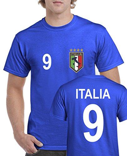 Comedy Shirts - WM 2014 - ITALIEN - VORNE und HINTEN - Nr. 9 - Herren T-Shirt - Royalblau Gr. - Trikot Italienische Nationalmannschaft