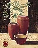 Fertig-Bild - Renée: Bambuseae in red vases 40 x 50 cm