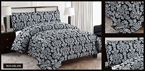 Diana Luxuriöse Qualität 3schwere Jacquard Gesteppte Tagesdecke, Leinen, schwarz, King Size (King Leinen Schwarz)