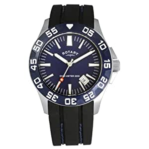 Rotary Men's Quartz Watch with Blue Dial Analogue Display and Black Rubber Strap GS30017/05
