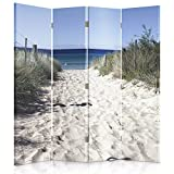 Feeby Frames. Die Gedruckten auf Canvas Leinwand Wandschirme, Dekorative Trennwand, Paravent beidseitig, 4 teilig (145x180 cm), Strand, Meer, WEIß, BLAU