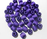 #10: Silk thread beads Wrapped for jewellery Multi Colour making- pack of 20 bY MANAV COMPANY (blue)