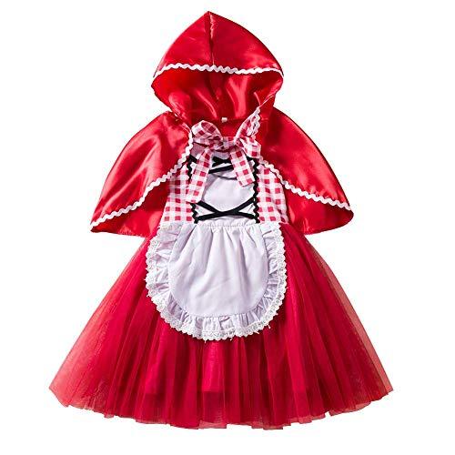 IBTOM CASTLE Disfraz de Caperucita Roja Traje del Vestido Niña Bebé Ropa Recien Nacido con Capa Vestido Infantil Deluxe Princesa de Niñas para Fiesta Carnaval Cumpleaños Cosplay Rojo 3-4 Años