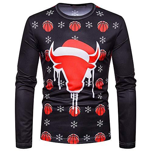 Yvelands Weihnachtskostüm Santa Print Holiday Humor Herren Langarm T-Shirt Weihnachten Top