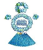 Niños Hula hawaiano hierba danza de la falda viste la ropa del, azul