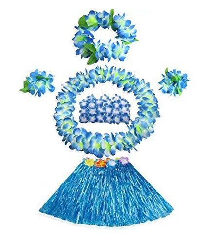 East Majik Kinder hawaiianischen Hula Gras-Rock-Tanz Wears Kleidungs-Satz, Blau
