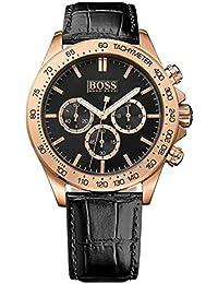 Boss Herren-Armbanduhr Chronograph Quarz Leder 1513179