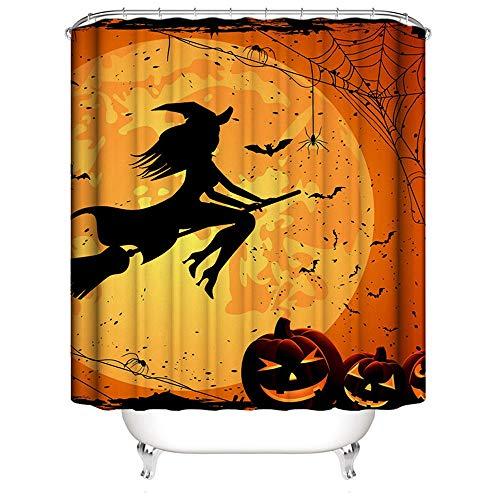 HLCE Halloween Dekoration Hexe Mond Kürbis Fledermäuse Bathroon Wasserdicht Duschvorhang DREI Größe (größe : M) (Payaso Halloween Disfraces)