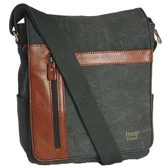 TROOP CANVAS MESSENGER SHOULDER BAG (CHARCOAL BLACK)