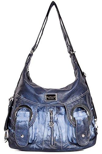 Tasche Hobo Frauen Tasche geräumig mehrere Taschen Street Ladies ' Schultertasche Fashion PU Tote Bag (AK1319-1-Lila) (W6802 Blau)