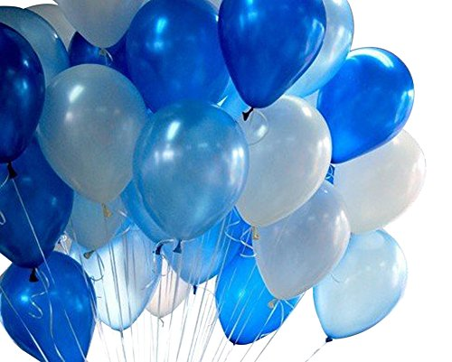 Wicemoon 20 Stück 12 Zoll Runde Latex Ballons Aufblasbare Helium Qualität Ballon für Jubiläum Hochzeit Valentines Party Dekoration - Blau + Weiß