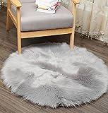 ZEZKT-Home Lammfellimitat Teppich✿Lammfellimitat Teppich Longhair Fell Optik Nachahmung Wolle Bettvorleger Sofa Matte✿30*30CM / 45*45CM ✿fürs Wohnzimmer, Esszimmer, Schlafzimmer oder Kinderzimmer (Grau, 45*45)