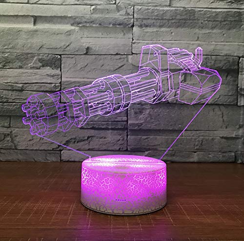 Maschinengewehr 3D Lampe Kreative Plug In Nachtlicht Acryl Visuelle Stereogift Großhandel Nacht Dekorative Lampe Für Kinder