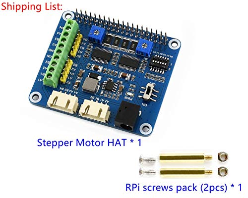 LotusI Stepper Motor Hat for Raspberry Pi Zero/Zero W/Zero WH/2B/3B/3B+, Drives Two Stepper Motors, Up to 1/32 Microstepping, Applies to 3D Printer/Sculpturing Machine/Mechanical Arm.