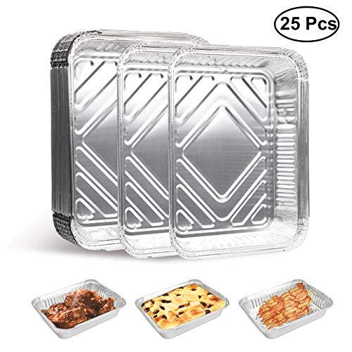 MojiDecor 25 Aluschalen, Grillschalen Alu-Tropfschalen perfekt für Grillen, Backen, und Aufbewahren von Essen l 23 x 18 x 4.5cm, 25 Stück