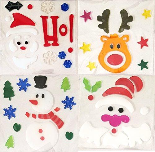 Momoka's Apron Dekoration Fenster Gel klammert Sich an Christmas, 4 Packs