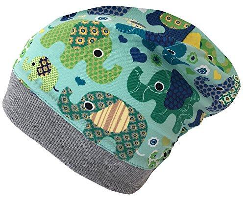 Team Jersey-schal (Wollhuhn ÖKO Beanie-Mütze Elefanten blau/grün für Jungen und Mädchen (aus Öko-Stoffen, Bio), 20161121, Gr S: KU 48/50 (ca 1-3 Jahre))
