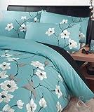 Oriental Floreale Copripiumino Set Luxury Poly Cotone Biancheria da letto Copertura per trapuntina Sets Aqua ( Blu Turchese Verde Acqua Crema Nero ) Copri Piumino Doppio