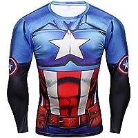 16025 - Maglia T-Shirt Sportiva Manica Lunga Con Stampa Capitan America Per Uomo Taglie A Scelta YJY-005