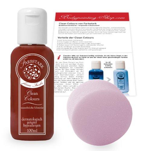 Farbstark Bodypainting Farben - hautfreundliche Körperfarbe in Profi Qualität (auch für Airbrush geeignet), Set: 100 ml Farbe Dunkelrot + Schminkschwamm