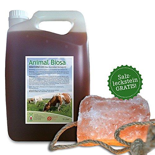 ANIMAL BIOSA 5 L BIO Ergänzungsfutter Pferde Tiere + GRATIS: Salzleckstein Kristallsalz 2-3 kg