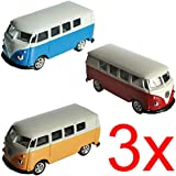 3 X VW VOLKSWAGEN CAMPERVAN MODEL TOY CAR KIDS GIFT SET METAL BUS DIE CAST NEW