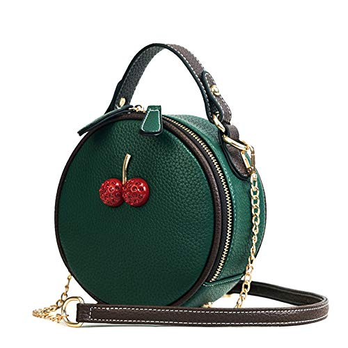 YNPGHG Damen Handtaschen PU Leder Kirschen Muster Einfach Wild Weiche Schulter Hübscher Riemen Arbeitstasche (Grün, Gelb),Green -