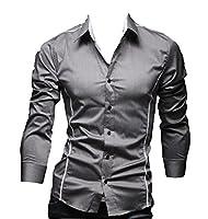 EKU Men's Lapel Solid Simple Stylish Slim Fit Dress Shirt L Grey
