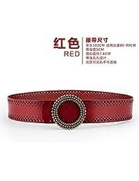 SILIU*Cinturón de cuero ancho de fajas decoración femenina con reminiscencias del remache ronda clip cinturón de cuero de primera capa abrigos con viento , color rojo.