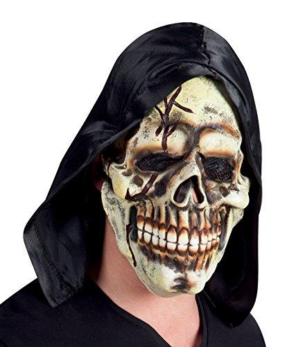 Maske Totenkopf mit Kapuze und elastischem Bund, Weiß/Schwarz, Einheitsgröße (Warlock Erwachsene Kostüme)