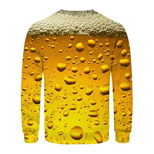Herren Mode T-Shirt Mit 3D Druck Und Langen Ärmeln Pullover Bluse Rundhalspullover Mit 3D Print Und Langen Ärmeln