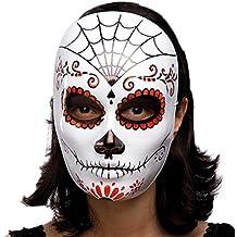 Máscara de esqueleto decoración mexicana de plástico negro y rojo duro solo blanco [00175]