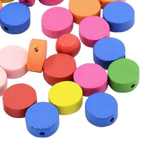 pandahall-lot-de-100pcs-perles-en-bois-ronde-plat-sans-plombteints-couleur-melangee-13-mm-de-diametr